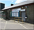 SO1500 : Information boards and name sign, Bargoed railway station by Jaggery