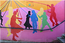 SP3874 : Maypole dancers on Ryton subway by David Howard