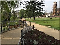 SP3165 : Riverside path and planting, Pump Room Gardens, Leamington by Robin Stott