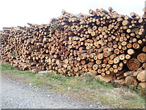 J3629 : Timber stacks on the SE slope of Drinnahilly by Eric Jones