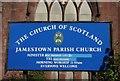 NS3981 : Sign, Jamestown Parish Church by Richard Sutcliffe