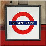 TQ2785 : Roundel at Belsize Park tube station by Mike Quinn