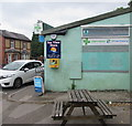 ST2281 : Yellow box on a pharmacy wall, Newport Road, Old St Mellons by Jaggery
