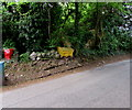 SO5318 : Yellow salt/grit bin above Llangrove Road, Trewen, Herefordshire by Jaggery