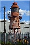 TQ6674 : Former lighthouse in corner of Port of London Authority yard, Denton by David Martin