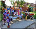 SP4815 : A yarn bombed bench at Thrupp by Steve Daniels