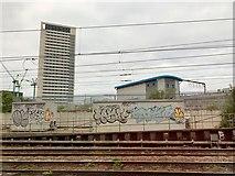 TQ3084 : Graffiti north of Kings Cross by Andrew Abbott
