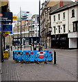 ST3088 : Turquoise temporary barriers around a hole in Bridge Street, Newport by Jaggery