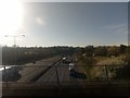 TQ5792 : M25 approaching the A12 junction, from the railway bridge by Christopher Hilton