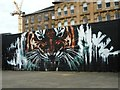 NS5864 : Tiger mural, Clyde Walkway by Richard Sutcliffe