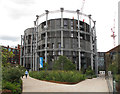 TQ2983 : Flats built within gasholder iron frames, King's Cross by David Hawgood
