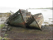 NM5643 : Abandoned boats in Salen Bay by M J Richardson