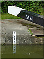 SP1876 : Balance beam and cill marker at Knowle Locks, Solihull by Roger  Kidd