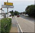 SO9218 : Signs above a hedge alongside the A46, Shurdington by Jaggery