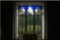 TQ1572 : View of a stained glass window in Strawberry Hill House by Robert Lamb