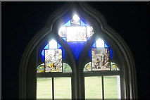 TQ1572 : View of a stained glass window in Strawberry Hill House #3 by Robert Lamb