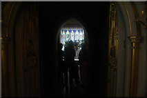 TQ1572 : View of a stained glass window in Strawberry Hill House #7 by Robert Lamb