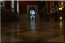 TQ1572 : View of a stained glass window in Strawberry Hill House #6 by Robert Lamb