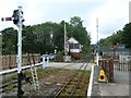NY7146 : Level crossing and signal box, Alston station by Christine Johnstone