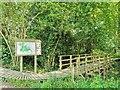 TQ3935 : Bridge and Information Board, Hollybush Woods by PAUL FARMER