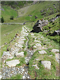 SH6151 : Desending a quarry incline to Cwm Llan by Gareth James