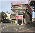 SO0428 : Scaffolding on a town centre corner, Brecon by Jaggery