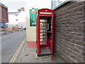 SO0428 : Inside a red phonebox, Glamorgan Street, Brecon by Jaggery