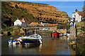 NZ7818 : Staithes Beck at high tide by Jonathan Billinger