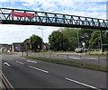 ST3091 : Volunteers banner on a Malpas Road footbridge, Newport by Jaggery
