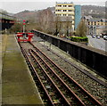 ST0789 : Red buffer stop at the end of the line, Pontypridd railway station by Jaggery