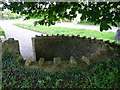 SN5016 : Fold in the churchyard wall, Llanddarog by Humphrey Bolton