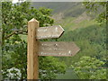 NY1716 : Footpath sign to Buttermere village by Graham Hogg