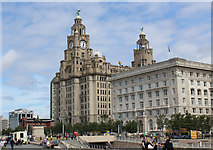 SJ3390 : The Royal Liver and Cunard Buildings, Liverpool by Chris Heaton