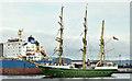 """J3576 : The """"Alexander von Humboldt II"""", Belfast harbour (July 2019) by Albert Bridge"""