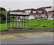 ST3090 : Recently-installed sign at a Rowan Way bus stop, Malpas, Newport by Jaggery
