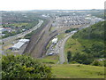 TR2137 : Channel Tunnel Terminal seen from Castle Hill by Marathon