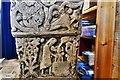 NY1133 : Bridekirk, St. Bridget's Church: Norman font, northern face by Michael Garlick