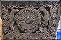 NY1133 : Bridekirk, St. Bridget's Church: Norman font, southern aspect (detail) by Michael Garlick