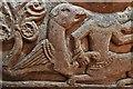 NY1133 : Bridekirk, St. Bridget's Church: Norman font, western face by Michael Garlick