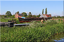 SK0220 : Working boat on dry land near Colwich, Staffordshire by Roger  Kidd