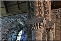 NY2039 : Torpenhow, St. Michael's Church: Norman chancel arch detail by Michael Garlick