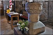 NY2039 : Torpenhow, St. Michael's Church: The font by Michael Garlick