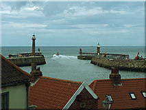 NZ8911 : Lifeboat leaving Whitby harbour by Stephen Craven