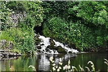 SE0063 : Grassington: Mini waterfall flowing into the River Wharfe by Michael Garlick