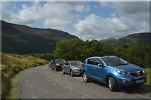 NY1717 : Cars parked on Newlands Pass near Buttermere by habiloid