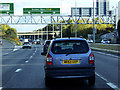 TQ5879 : Sign Gantry over the Eastbound A13 near Lakeside by David Dixon