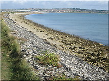 SY6774 : Portland Harbour with Weymouth beyond by Peter S