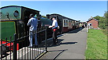 SO2508 : Heritage Railway staff and steam locomotive at Blaenavon High Level Station by Jaggery