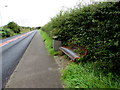 ST1496 : Hengoed Road bench and litter bin between two villages by Jaggery