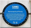 TG2308 : Blue plaque 'Aeronautical Firsts' by Evelyn Simak